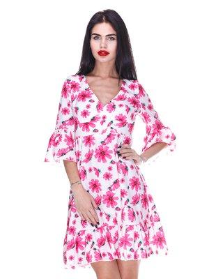 Платье белое с цветочным принтом | 3255715