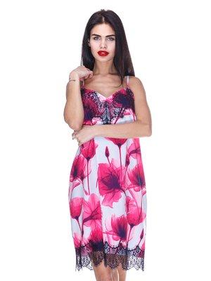 Платье голубое с цветочным принтом | 3255728