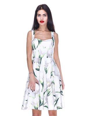 Платье белое с цветочным принтом | 3255706