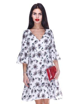Платье белое с цветочным принтом | 3255716