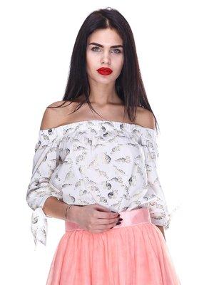 Блуза біла в принт | 3255694