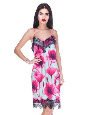 Платье мятное с цветочным принтом | 3255729