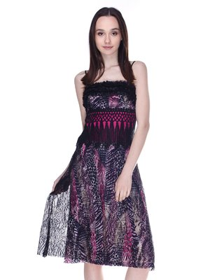 Сукня чорна з принтом | 3273286