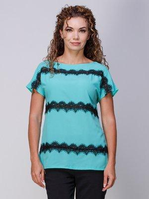 Блуза м'ятного кольору з мереживом | 3278009