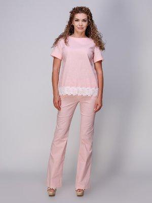 Костюм из льна розового цвета с кружевом | 3277976