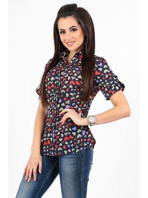 Блуза темно-синя в принт | 3287481
