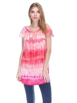 Блуза розовая в абстрактный принт | 3190717
