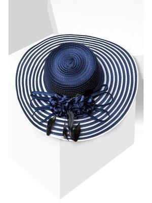 Капелюх синій з полями в смужку | 3311520
