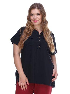 Блуза черная из легкого штапеля | 3287745