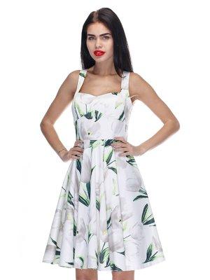 Платье белого цвета с принтом | 3295559