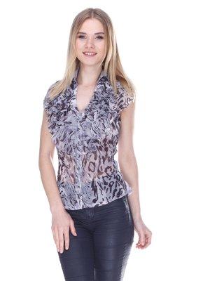 Блуза сіра в принт | 3310572