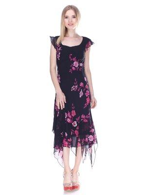 Сукня чорна в квітковий принт | 3310541