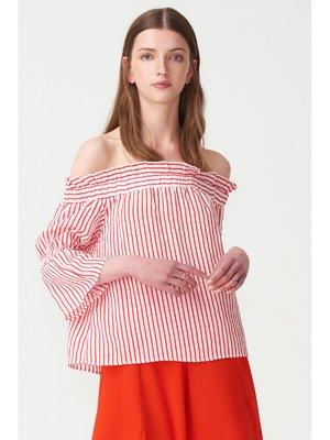Блуза червона в смужку | 3320789