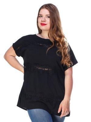 Блуза чорного кольору з мереживом легка | 3315321