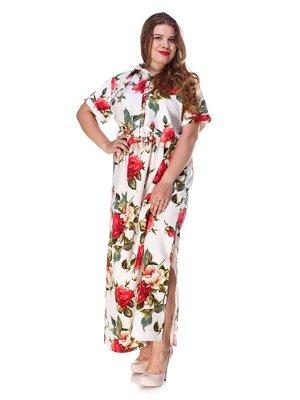 Платье белое с цветочным принтом и эластичным поясом | 3315333