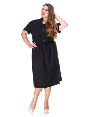 Платье черное с удобным поясом на резинке | 3315325