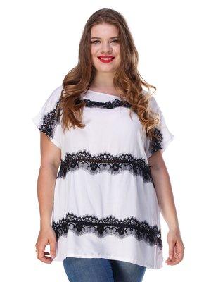 Блуза білого кольору з мереживом легка | 3315323