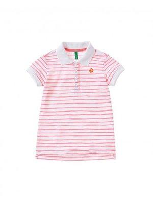 Футболка-поло розовая в полоску | 3258399