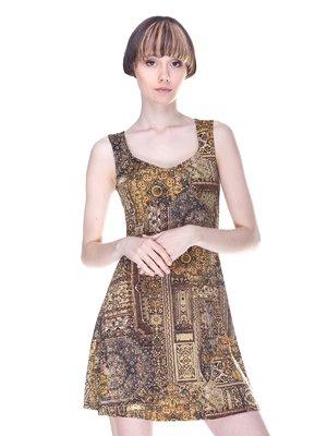 Сукня жовта з принтом | 3003497