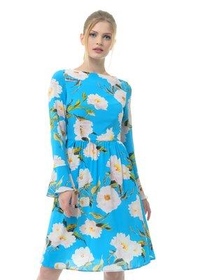 Платье голубое в цветочный принт   3321984
