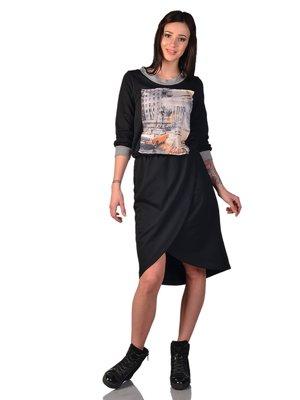 Сукня чорна з принтом | 3324253
