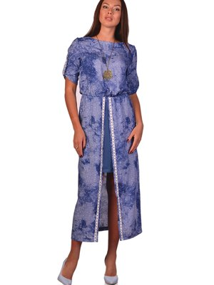 Платье синее в принт | 3324264