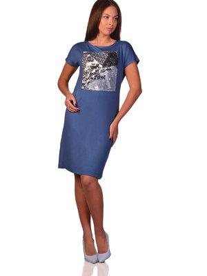 Платье синее с принтом | 3324272