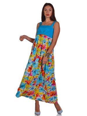 Сарафан голубой в цветочный принт | 3324287