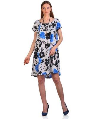 Платье серое в цветочный принт | 3324297