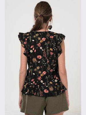 Блуза черная в цветочный принт | 3324755