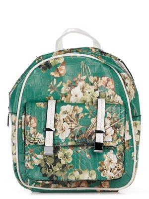 Рюкзак зеленый в цветочный принт | 3309194
