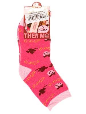 Носки розовые в принт | 2917005