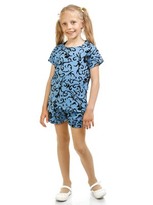 Блуза синя з флокованим малюнком | 3244834