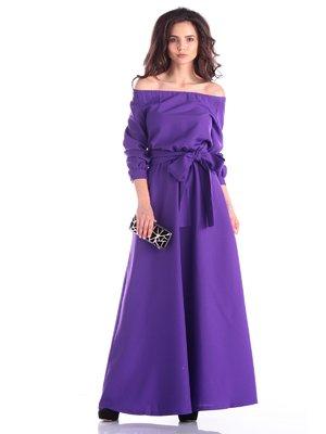 Платье фиалкового цвета с поясом | 3337406