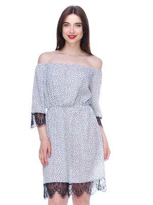 Сукня біло-блакитна в принт   3328793