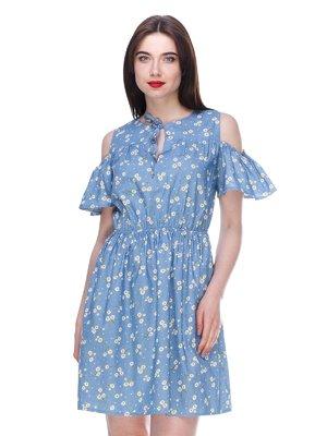 Платье голубое с цветочным принтом | 3328790