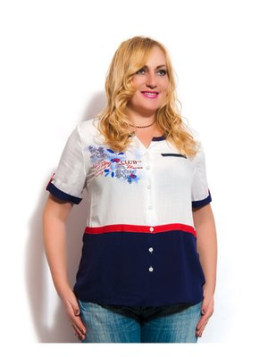 Блуза двухцветная с принтом | 3286833