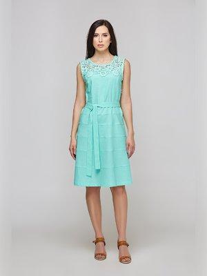 Платье цвета мяты с кружевной кокеткой | 3274153
