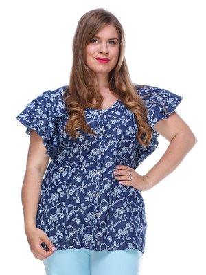 Блуза из легкого джинса с цветочной перфорацией | 3328737