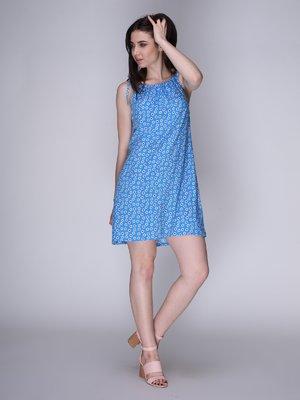 Платье голубое в цветы | 3365839
