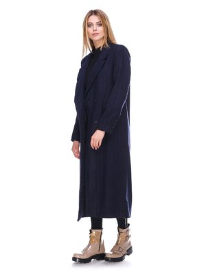 Пальто синее в полоску | 3273431