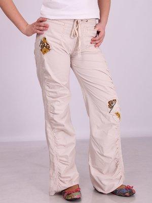 Штани молочного кольору з вишивкою | 3308125