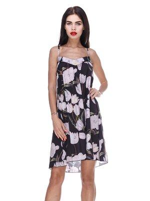 Платье черное с цветочным принтом - Atelier private - 3366135