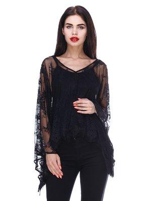 Блуза черная с гипюровой накидкой   3366134
