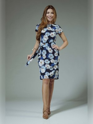 Платье синее с цветочным принтом | 3381387