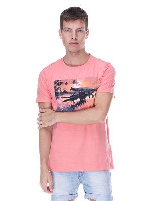 Футболка розовая с принтом | 3382936
