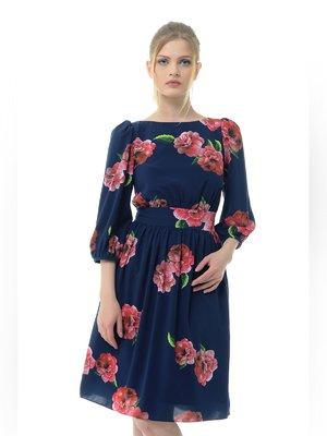 Платье синее в цветочный принт   3386741