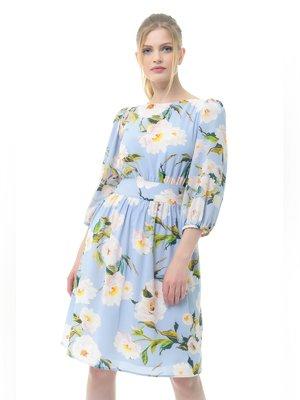 Платье голубое в цветочный принт   3386742