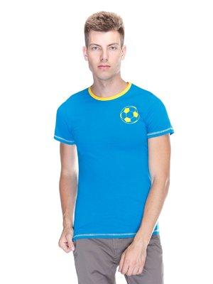 Футболка голубая с принтом | 3388114