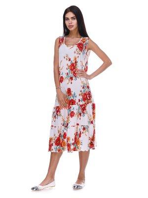 Сукня біла з квітковим принтом | 3387717